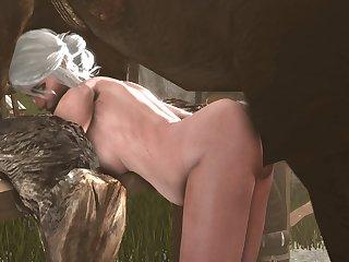 Ciri Bent Over (blueberg)[horse]3D Bestiality