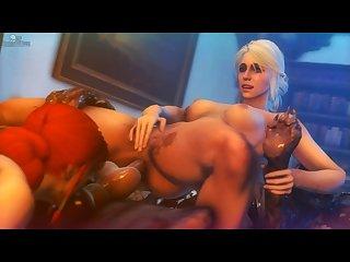 Triss & Ciri Sharing (darktronicksfm)[dog Wolf]3D Bestiality